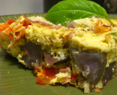 egg & purple potato casserole