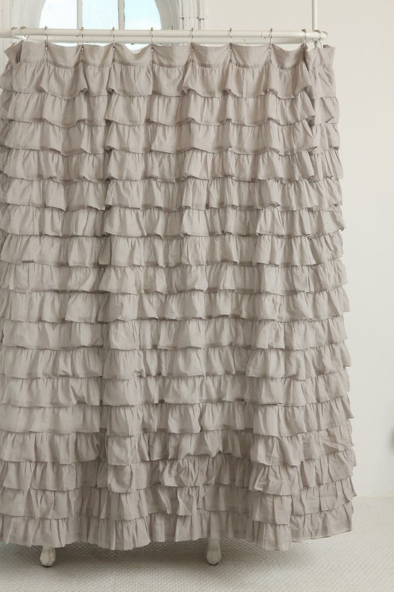 gray ruffle shower curtain from urban outfitters
